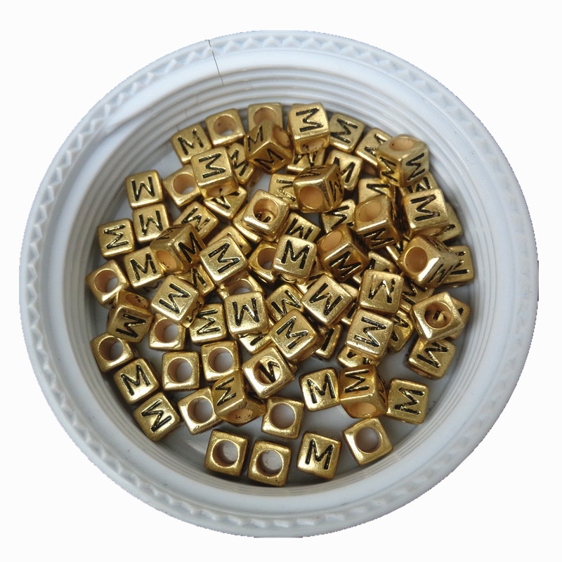Beads & Jewelry Making Beautiful Gold Color Cube Acrylic Letter Beads 6*6mm 300pcs/lot Big Hole Square Plastic Alphabet Jewelry Spacer Beads For Bracelet Making Attractive Fashion
