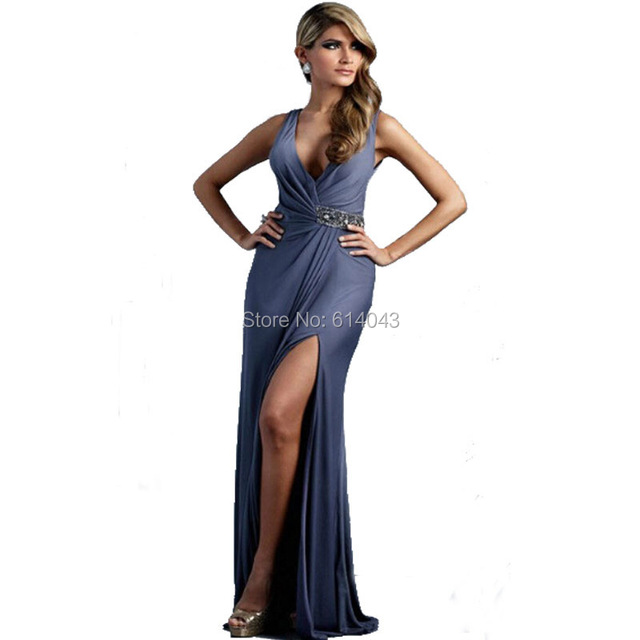 Us 119 9 Sexy V Neck Chiffon Long Length Wedding Guest Dress Backless Top Quality Slit Women Gown Hot Selling In Evening Dresses From Weddings