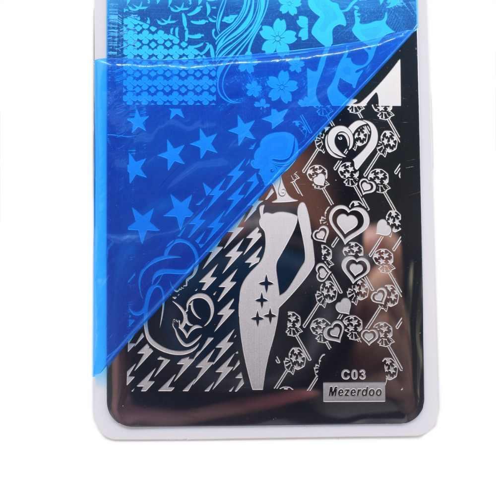 Mezerdoo Lover Nail Art Stamping แผ่นเซ็กซี่ผู้หญิง Star เล็บสี่เหลี่ยมผืนผ้าเล็บปั๊มแผ่น C03