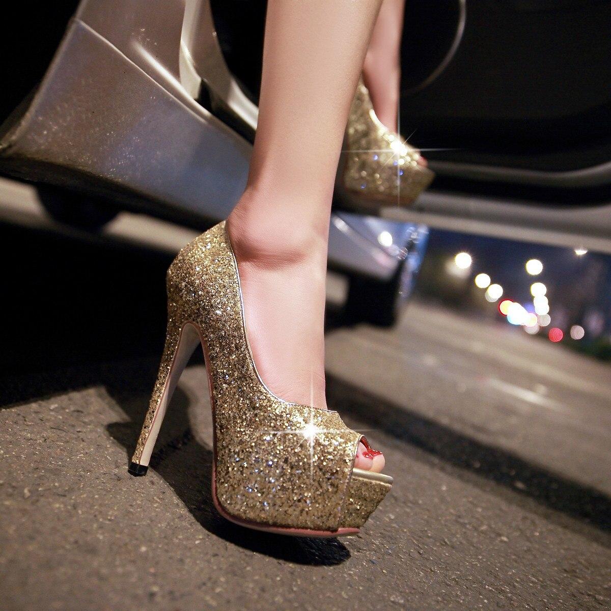 À Chaussures Taille Décontracté Semelles Bling 43 Dames Grande Toe Hauts Noir argent Pompes Partie Ol Printemps Nouvelle Peep 32 Sexy Talons blanc or Femme Bonjomarisa De Soirée Compensées EOaxP7wqW