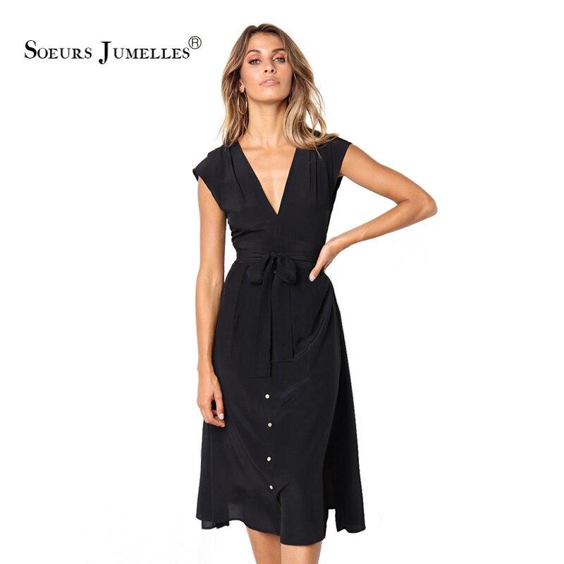 298528b905fc4c4 Винтажное летнее платье трапециевидной формы для женщин 2019, элегантное, с  глубоким v-образным вырезом, офисное, женское, эластичное, сексуал.