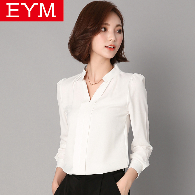 Women Blouses 2018 Spring New Long Sleeve Shirt Simple Office Style Casual  Solid White Shirt Women Plus Size Tops Ladies Clothes 2ecb54570