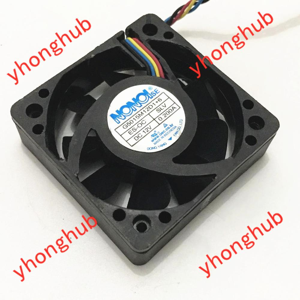Free shipping For NONOISE G5015M12D1+6 DC 12V 0.200A, 50x50x15mm 4-wire 4-pin connector Server Square fan