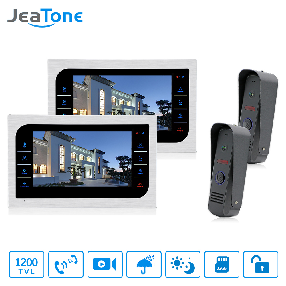 JeaTone Door Access Control 10 LCD Display Video Doorbell Door Phone 1200TVL Home Security Camera Intercom Kit jeatone 10 tft wired door phone doorbell intercom monitor 2 8mm lens 1200tvl camera 1v1 kit for private house free warranty