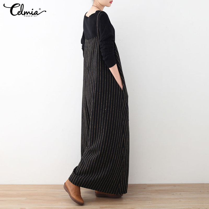 b9e9df48e32d Celmia Rompers Women Jumpsuit 2018 Autumn Striped Playsuit Vintage Backless  Oversized Casual Loose Playsuits Plus Size Overalls-in Jumpsuits from  Women s ...