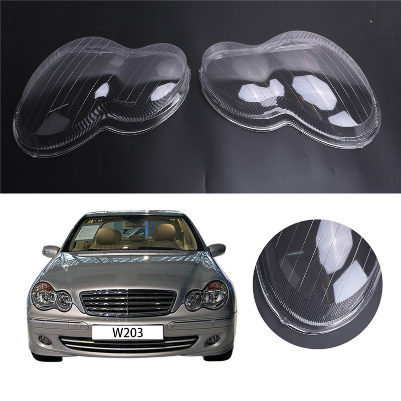 2Pcs For Mercedes Benz Headlight Lens Lamps Plastic Protector Shell Cover W203 C Class C230 C280
