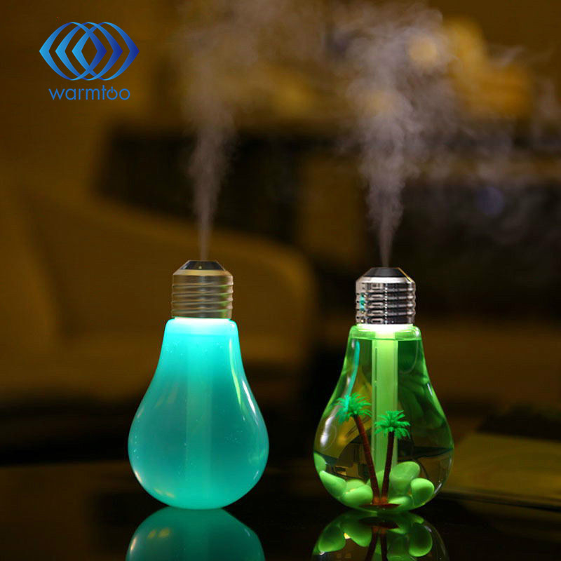 USB ultrasonic humidifier home office Mini aromatherapy colorful LED night light bulb aromatherapy atomizer bottle 400ml home car dual use mini usb vehicle aromatherapy humidifier ultrasonic air water supply instrument atomizer