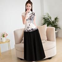 White Printed Nylon Cotton Sexy Blouse Chinese Vintage Women Slim Shirt Elegant Mandarin Collar Handmade Button Clothing