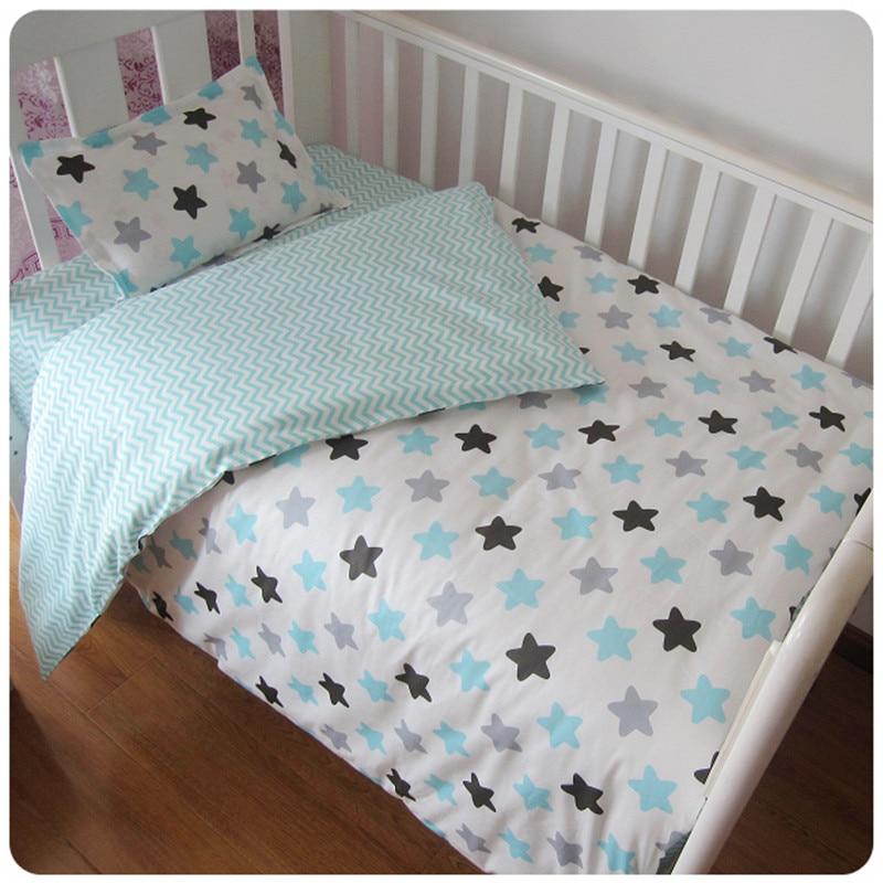 3Pcs Baby Bedding Set Cotton Crib Sets Black White Stripe Cross Pattern Baby Cot Set Including Duvet Cover Pillowcase Bed Sheet cqda stripe pattern blended cotton leggings blue white m