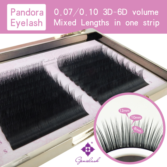 10 pcs/lot Pandora Lash Mixed Lengths in One Strip 16 lines 0.07/0.10 3D-6D Volume False Eyelash Extension