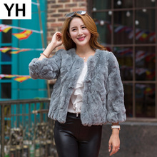 2019 Hot Sale Lady Real Rex Rabbit Fur Coat Genuine Real Rex Rabbit Fur Short Style Jacket 100 Natural Rex Rabbit Fur Overcoat cheap REGULAR Double-faced Fur Natural Color WOMEN O-Neck Real Fur YH4234 Nine Quarter Covered Button Solid Casual Slim STANDARD