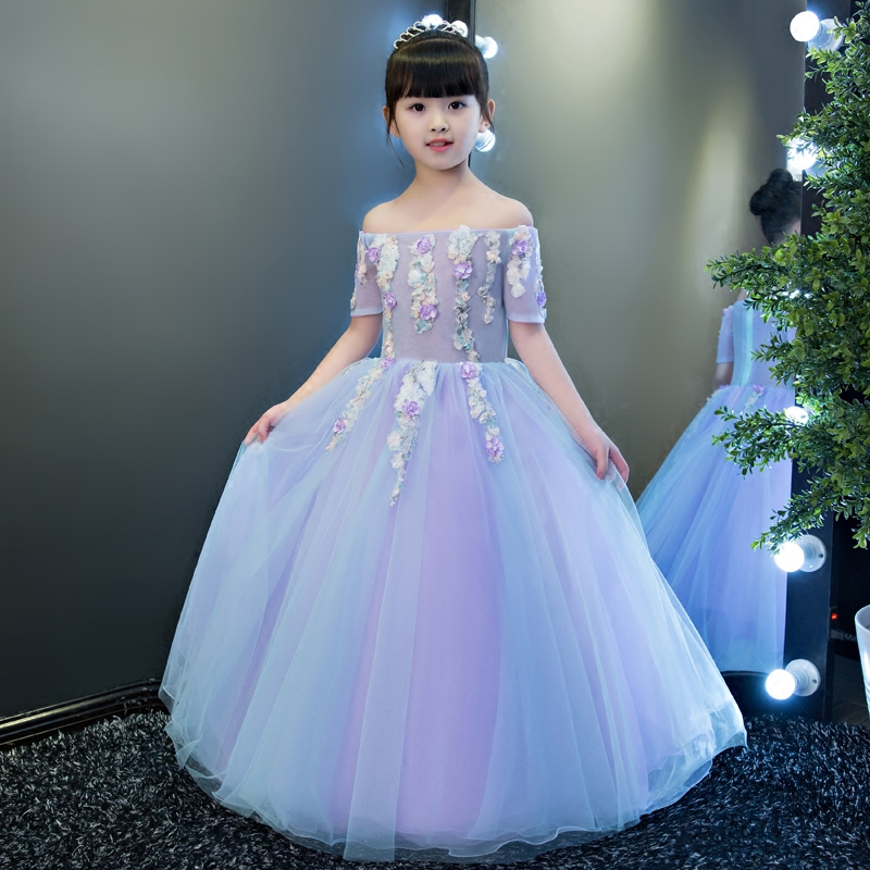 2017Hot-sales Children Girls Half Sleeves Flower Princess Party Long Dress For Wedding Birthday Kids Piano Playing Costume Dress green crew neck roll half sleeves mini dress