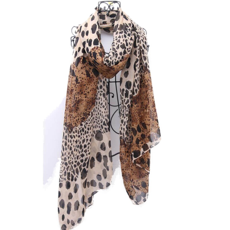 2019 European And American Scarf Women's Chiffon Leopard Print Little Silk Scarf Hair Tie Band Neckerchief Multi-Purpose Scarfs