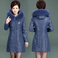New Winter Women PU Leather Jacket Big Fur Collar Hooded Fashion Medium Long Thick PU Leather