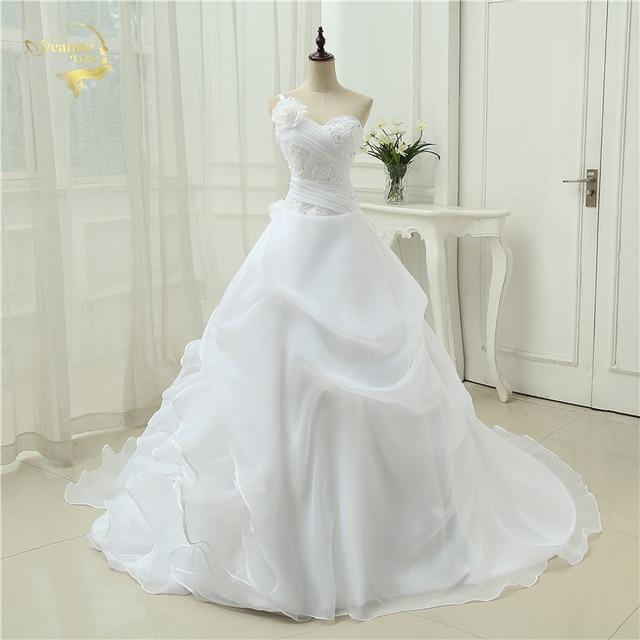 Jeanne Love Royal Sweetheart A Line Wedding Dresses 2019: Vestido De Noiva A Line One Shoulder Bridal Applique Lace