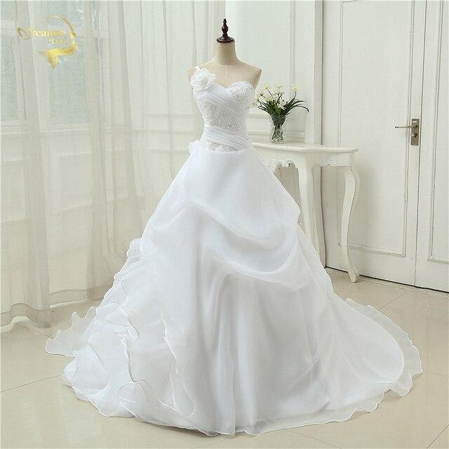 Vestido דה Noiva קו אחד כתף כלה Applique תחרה אורגנזה Robe De Mariage Vintage חתונת שמלות 2019 OW4042 בתוספת גודל
