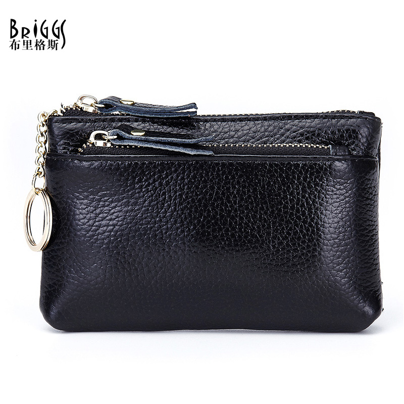 BRIGGS Fashion Coin Purses Woman Cow Genuine Leather Women Clutch Wallet Cowhide Women's Bags,2 card holder,Key Bag