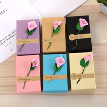20 Pcs/Lot 6 Color Kraft Paper Jewelry Boxes With Sponge Necklace Earring Ring Pendant Box Lily Flower Display