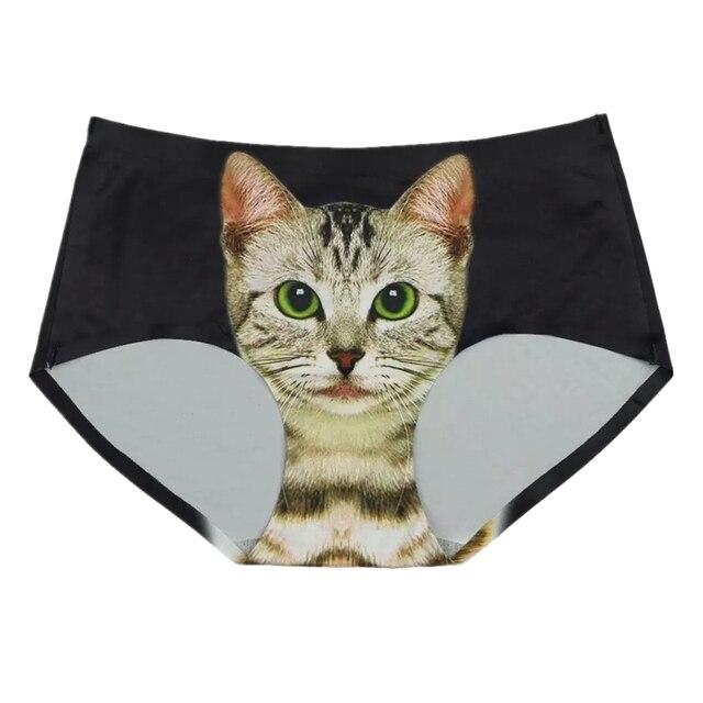 Black Pussycat Panties Cat Underwear Panties with 3D Cat Face Seamless Briefs for Women British Pop TomCat Panty