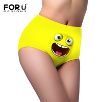 FORUDESIGNS Women Funny Panties High Womens Ultrathin Ladies Briefs Funny Emoji Smile Face Spandex Trigonometric Panties