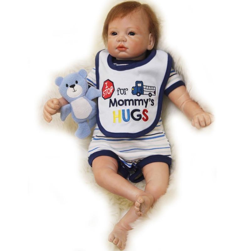 22'' Realistic Reborn Baby Doll Soft Silicone Lifelike Newborn Doll Vinyl Reborn Baby Dolls Kids Girls Birthday XMAS Gift