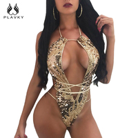 Sexy Gold Sequin Mesh Trikini Bandage Bathing Suit Backless Monokini High Cut Brazilian Thong Swimwear Women