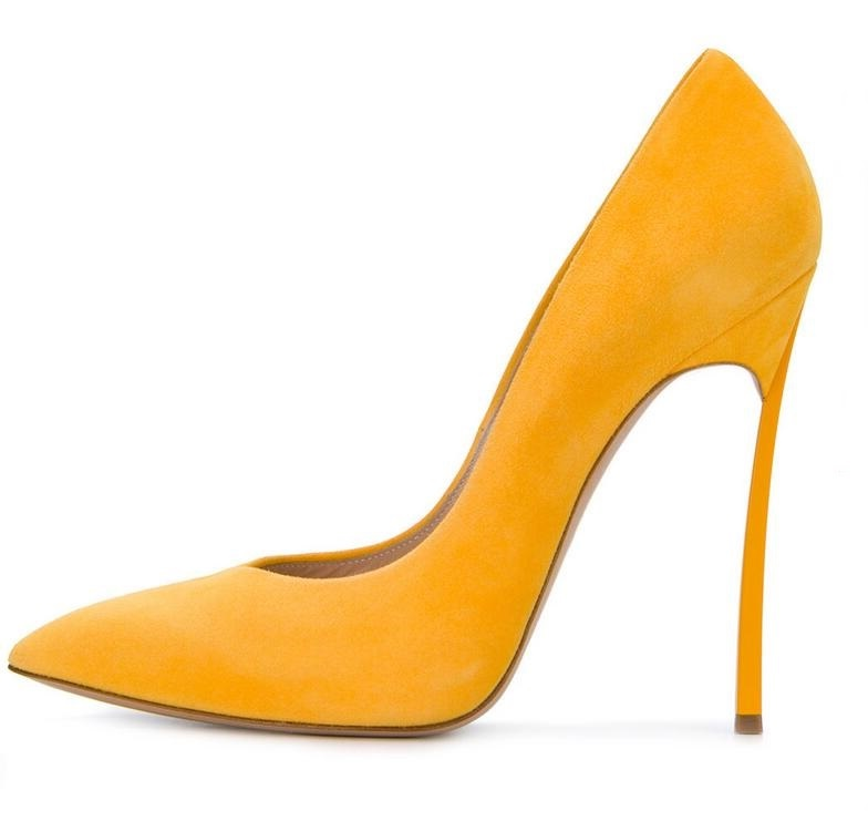 Newest Women Yellow Suede High Heel Pumps Pointed Toe Metal Heels Wedding Heel Dress Shoes High Quality Slip-on Blade Heel Shoes woman rose red suede high heels sexy pumps gold side metal thin heel wedding dress shoes pointed toe slip on female shoes