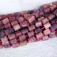 Natuurlijke Echt Rauwe Minerale Roze Paars Rood Ruby Hand Cut Nugget Gratis Vorm Losse Ruwe Matte Facet Kralen 6-8mm 15
