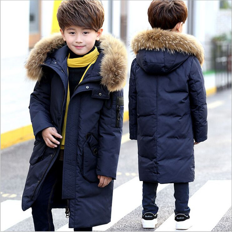 цена Russia Children's Winter Jackets Boys Down Parka 2018 New Boys Long Jacket Thick Warm Big Fur Collar Down & Parkas Down Jacket