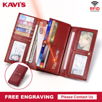 KAVIS Free Engraving 100% Genuine Cow Leather Women Wallet Female Coin Handy Purse Hasp Portomonee Clutch Lady Money Bag Long