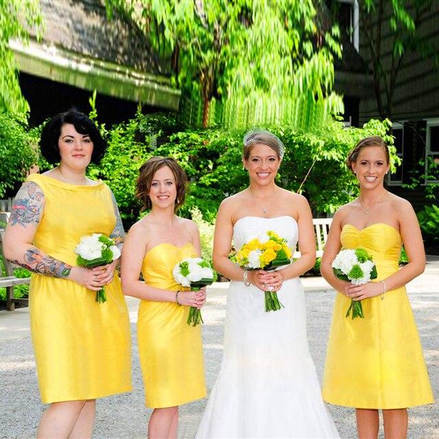 Cute Stretch Satin Short Bridesmaid Dress Yellow Dresses For S Juniors Robes Gelinlik Modelleri Wear