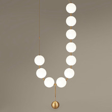 Modern LED Glass Lampshade Light Nordic Design Dining Room Kitchen Fixtures Necklace Style Hanging Lamps