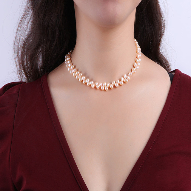 JYX Natural Choker Necklace 5.5-7mm Pink Baroque Pearl Necklace Wheat-Ear-Shaped