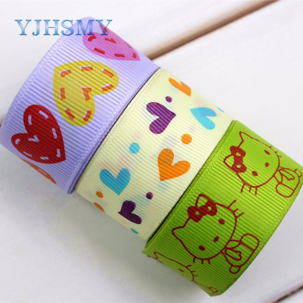 YJHSMY 174133 ,25mm geometry Printed grosgrain ribbon,DIY handmade,Wedding decoration materials, Valentines Day essential