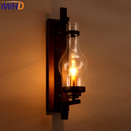 IWHD Loft Vintage Industrial LED Wall Lamp RH Retor Glass Lampshade Wall Light Fixtures For Home Lighting Cafe Bar Luminaire nordic vintage loft style wall lamp glass wood rocker bedside light fixtures for alise bar cafe indoor home lighting luminaire