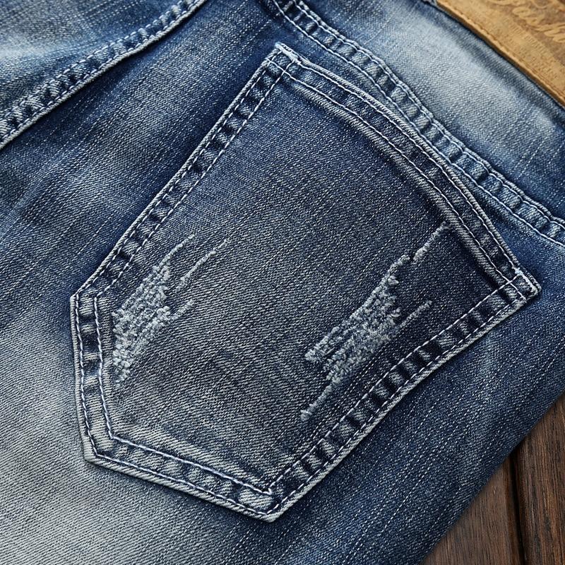 Jbersee Ripped Jeans Men Fashion Korean High Street Slim Fit Vintage Classical Denim Pants Plus Size Four Seasons Trousers