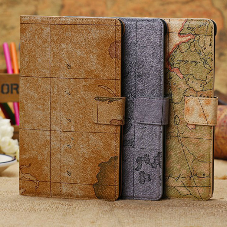 World Map PU Leather Cases Cover for New Google Nexus 7 II 2 2013 2nd 2 Generation lichee pattern protective 2 fold pu leather case for google nexus 7 generation ii