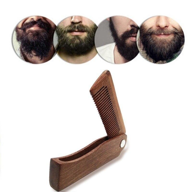 New Men's Dedicated Portable Wood Folding Comb Set Mini Pocket Comb Beard Care Tool Beard Styling Tool