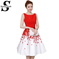 Vestidos New 2017 Summer Dress Women Fashion Red Sleeveless Elegant Slim Casual Dress Floral Print Party