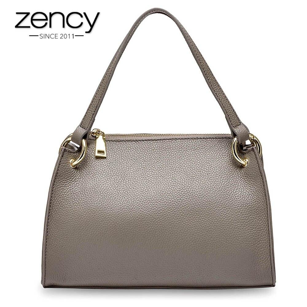 Zency 100% véritable haut en cuir poignée sac à main cabas décontracté pour femme sac à main mode femme épaule bandoulière sacs noir petite boîte sac-in Sacs à poignées supérieures from Baggages et sacs    1
