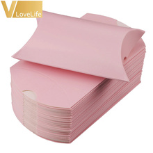 50pcs/lot Wedding Party Favor Paper Gift Pillow Box Candy Boxes Supply Accessories Favour Kraft Paper Gift Boxes 9 x 13 x 3.5cm(China)