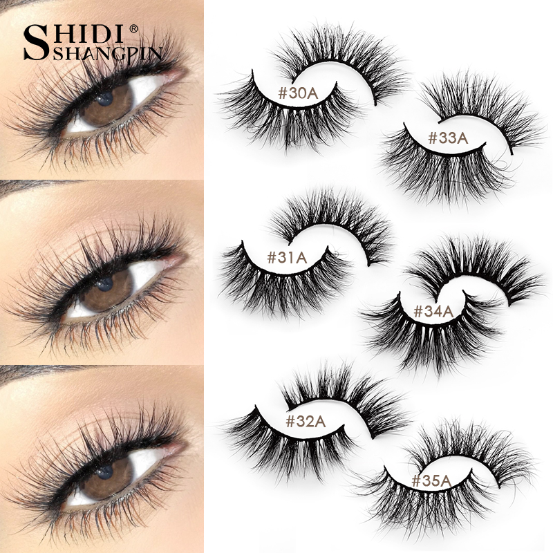 SHIDISHANGPIN 1Pair Mink Eyelashes Volume 3d Mink Lashes Natural False Eyelashes Full Eyelashes Makeup Lashes Thick Maquiagem