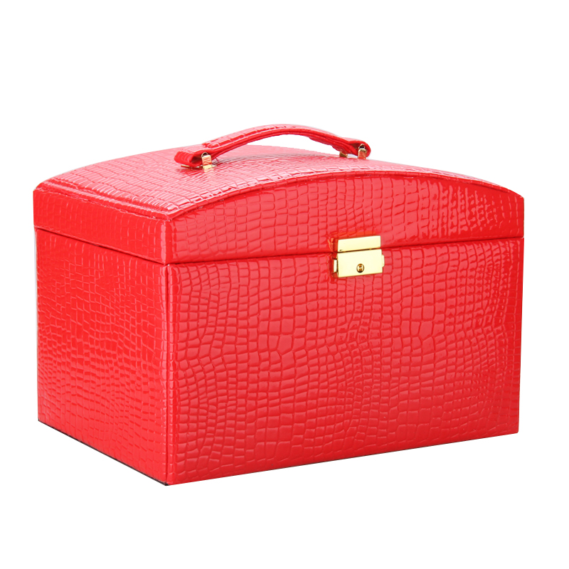 Large Jewelry Storage Organizer Armoire PU Bracelet Mirrored Case Red Jewellery Display Rings Box Earring Holder with Travel Bag
