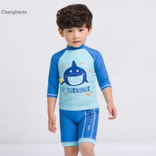 New Models 1-8 year old kid Baby Boy Rash Guards two piece Swimwear Children Boys Blue with Fish pattern Swimming Cap