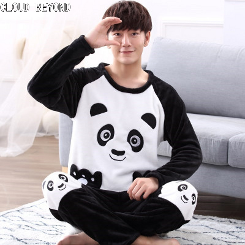 Flannel Pajamas Sleepwear Lounge-Set Male Winter Autumn Cartoon And Coral L-4xl Thickening