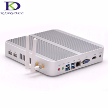 Kingdel безвентиляторный мини-компьютер, HTPC, неттоп с INTL i5-4200U Процессор, 16 ГБ Оперативная память + 128 ГБ SSD, HDMI + VGA, 4 * USB3.0, Wi-Fi, Windows10, металлический корпус