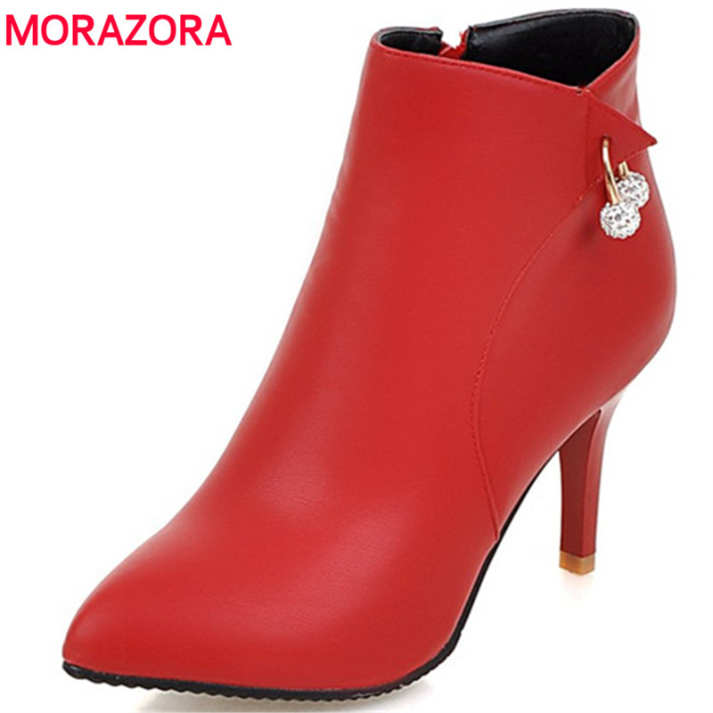 MORAZORA Party shoes woman sexy lady thin heels shoes fashion ankle boots for women pointed toe PU zip boots female size 34-44 morazora pointed toe ankle boots for women high heels shoes woman fashion shoes woman autumn boots female big size 34 43
