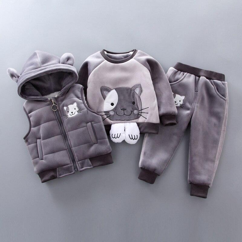 BibiCola winter children clothing set velvet warm 3pcs vest tops pants clothing girls boys thick clothing