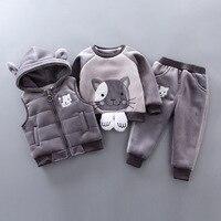 BibiCola winter children clothing set velvet warm 3pcs vest+tops+pants clothing girls boys thick clothing set kids sport hoodie