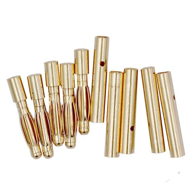 20 par/lote 2,0mm oro banana conector bala macho para la batería de RC ESC lipo 20%